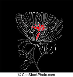 Stylized flower on black background