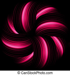 Red abstract waves on a black background. EPS 8
