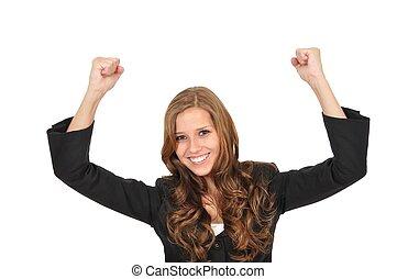 Junge Frau reisst die Arme hoch