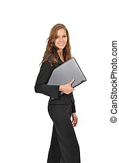 Lchelnde Frau mit Laptop