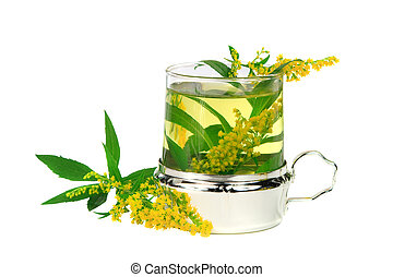 Tea from goldenrod (Solidago gigantea) for healing kidney...