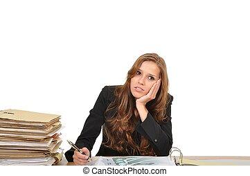 Gesch?ftsfrau am Schreibtisch tr?umt