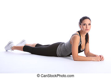 Beautiful athletic woman in sports outfit on floor - Fit...