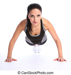 Push ups fitness exercise by young beautiful woman - Fit...