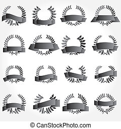 vector banner and laurel wreath set