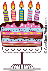 vector birthday cake on a stand with burning candles