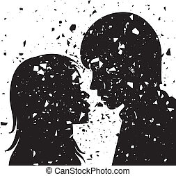 vector grunge silhouette of young man and woman