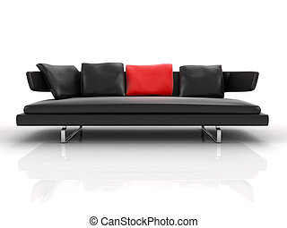 3d black leather couch whith red pillow isolated
