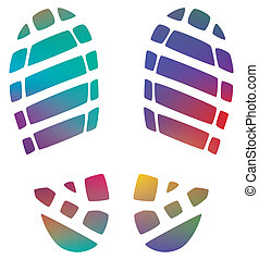 vector illustration of man's colorful bootprints