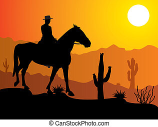 man on the horse in desert - vector man on the horse in...