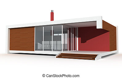 minimalist holiday villa - 3d contemporary house on white...