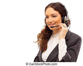 Woman wearing headset in office; co