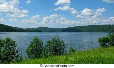 summer landscape with mounatin lake