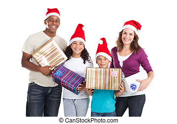 multiracial family with xmas gifts