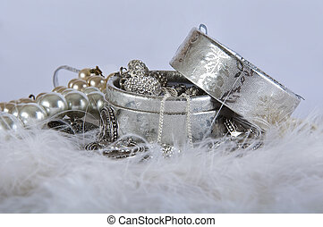 casket with pearl beads and silver ornaments