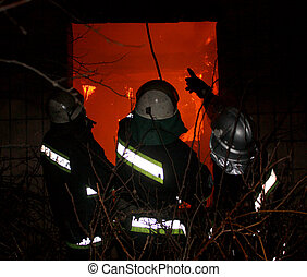 Firefighters Team, Firefighters in work