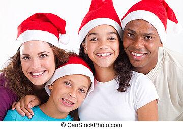 multiracial Christmas family