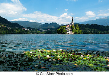 Lake Bled in Slovenia - View of St. Mary´s Church of the...
