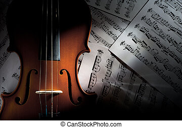 Violin on Music Sheets