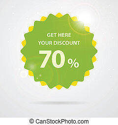 Green discount sticker in vector