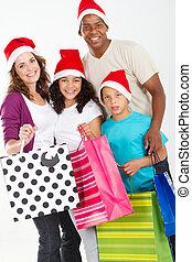 family Christmas shopping - happy family Christmas shopping