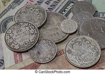 old canadian money - bunch of collection coins