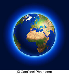 Earth Globe Centered on Europe - A representation of The...