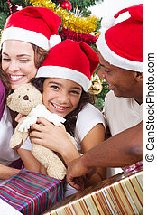 happy multiracial Christmas family - happy multiracial...