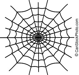 Black spiderweb isolated on white background
