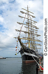 Sailimg barque KruzenshternThe largest sailing ship in the...