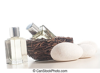 Spa concept - Perfume bottle in the bird nest