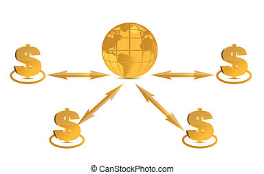 Global success concept dollar signs