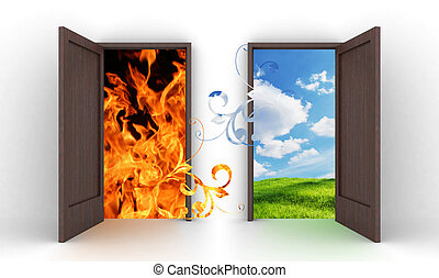 Opened doors into blue sky and fire