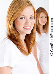 beautiful teen girls on white