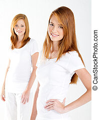 beautiful teen girls on white