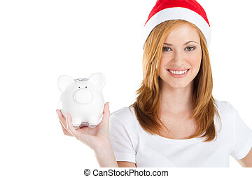 christmas saving - happy young Christmas teen girl holding a...