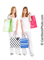 teen girls carrying shopping bag - beautiful teen girls...