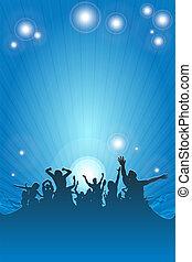 dancing people blue - dancing happy people having fun...
