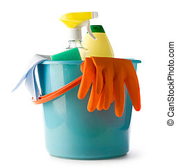 Plastic bucket with cleaning supplies isolated on white...