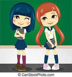 Back to School - Two shy teenage girls in student uniform...