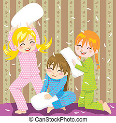 Pillow fight - Three young girls having fun doing pillow...