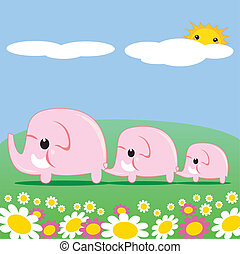 Cute Pink Elephants - Sweet pink elephant family walking...