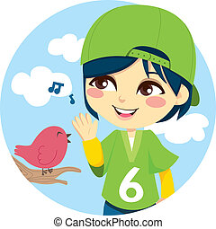 Listening the Songbird - Young boy with green baseball cap...