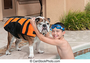 Child and His Pet Dog