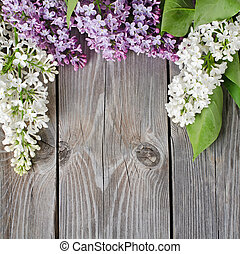 Beautiful lilac - The beautiful lilac on a wooden surface