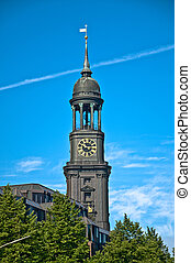 Hauptkirche St. Michaelis in Hamburg on summer day