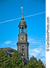 Hauptkirche St. Michaelis in Hamburg on summer day