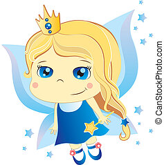 cute fairy - cute little cartoon fairy with blue eyes