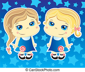 two little girls - two cartoon cute girls on blue background