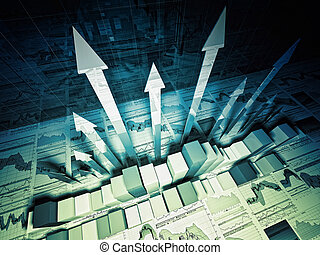 financial graph 3d background - fine 3d image of growing...